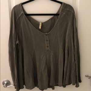 Free People Pleated Tunic In Hunter Green